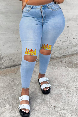 Light Blue Fashion Casual Print Ripped Plus Size Jeans