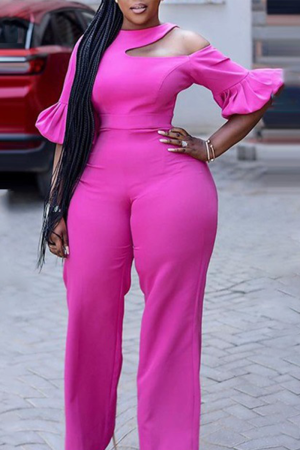 Pink Casual Solid Hollowed Out O Neck Plus Size Jumpsuits