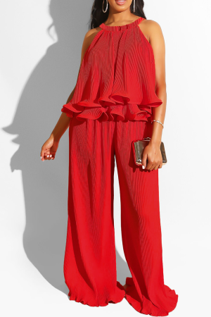 Red Sexy Solid Flounce Sleeveless Two Pieces