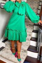 Green Casual Solid Bandage Half A Turtleneck Cake Skirt Dresses