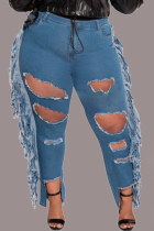 Blue Casual Solid Tassel Ripped Plus Size Jeans
