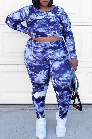 Sky Blue Casual Print Tie Dye Split Joint Backless O Neck Plus Size Two Pieces