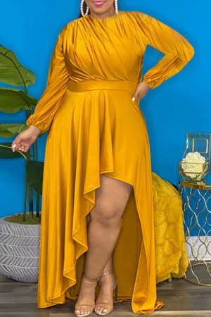 Gold Sexy Solid Split Joint Asymmetrical O Neck Irregular Dress Plus Size Dresses