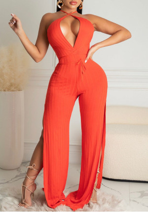 Red Sexy Solid Split Joint Backless Slit V Neck Straight Jumpsuits