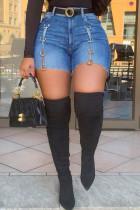 Medium Blue Fashion Casual Solid Split Joint High Waist Regular Denim Shorts