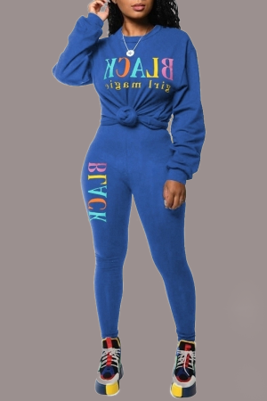 Blue Sexy Print Split Joint O Neck Long Sleeve Two Pieces