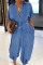 Light Blue Casual Solid Split Joint Turndown Collar Harlan Jumpsuits