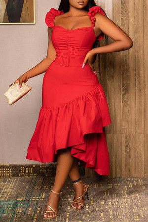 Red Sexy Casual Solid Split Joint Spaghetti Strap Long Dress Dresses