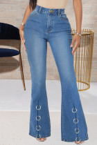 Blue Fashion Casual Solid Split Joint High Waist Boot Cut Jeans