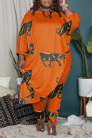Orange Fashion Casual Print Asymmetrical O Neck Plus Size Two Pieces