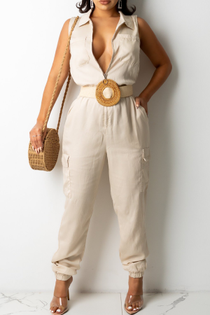 Cream White Casual Solid Split Joint Turndown Collar Harlan Jumpsuits