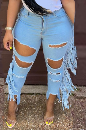 Baby Blue Casual Solid Tassel Ripped Plus Size Jeans