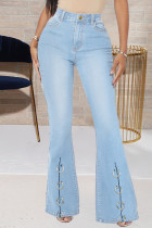 Baby Blue Fashion Casual Solid Split Joint High Waist Boot Cut Jeans