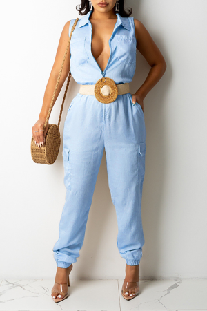 Blue Casual Solid Split Joint Turndown Collar Harlan Jumpsuits