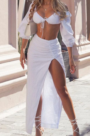 White Sexy Solid Split Joint Slit Fold Asymmetrical Strapless Three Quarter Two Pieces