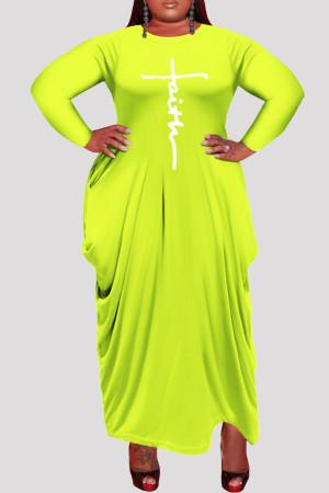 Fluorescent Yellow Fashion Casual Plus Size Print Asymmetrical O Neck Long Sleeve Dresses