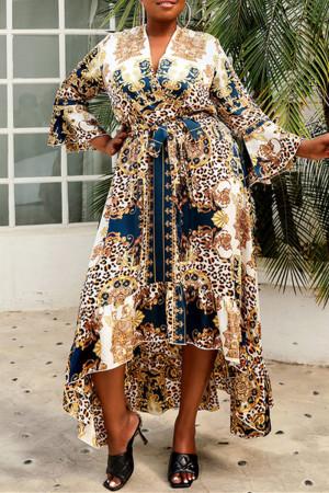Multicolor Fashion Plus Size Print Asymmetrical V Neck Long Sleeve Dresses