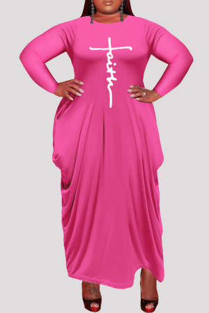 Rose Red Fashion Casual Plus Size Print Asymmetrical O Neck Long Sleeve Dresses