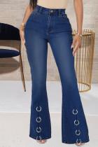 Dark Blue Fashion Casual Solid Split Joint High Waist Boot Cut Jeans