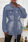 Blue Casual Solid Split Joint Turndown Collar Outerwear