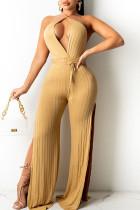 Gold Sexy Solid Split Joint Backless Slit V Neck Straight Jumpsuits