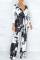 Black Casual Patchwork Tie-dye V Neck Straight Jumpsuits