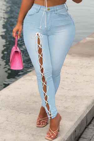 Light Blue Fashion Casual Solid Bandage Mid Waist Regular Jeans