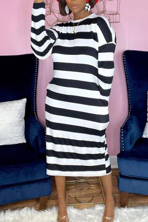 White Casual Striped Print Split Joint O Neck Long Sleeve Plus Size Dresses