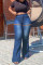 Blue Fashion Casual Solid Ripped Plus Size Jeans