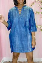 Blue Fashion Casual Print Basic V Neck Dresses
