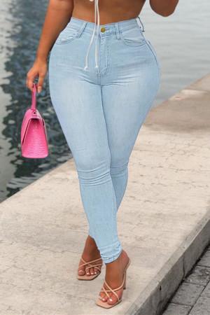 Light Blue Fashion Casual Solid Basic High Waist Regular Jeans