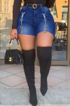Deep Blue Fashion Casual Solid Split Joint High Waist Regular Denim Shorts
