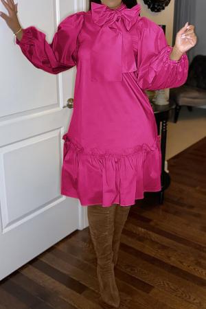 Rose Red Casual Solid Bandage Half A Turtleneck Cake Skirt Dresses