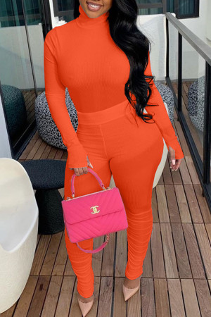 Tangerine Red Casual Solid Split Joint Fold Turtleneck Long Sleeve Two Pieces