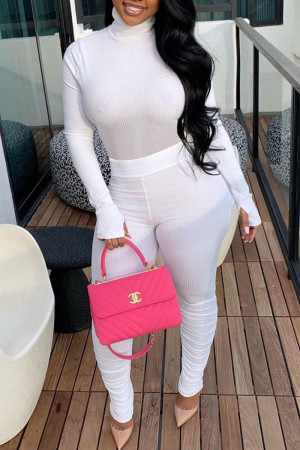 White Casual Solid Split Joint Fold Turtleneck Long Sleeve Two Pieces