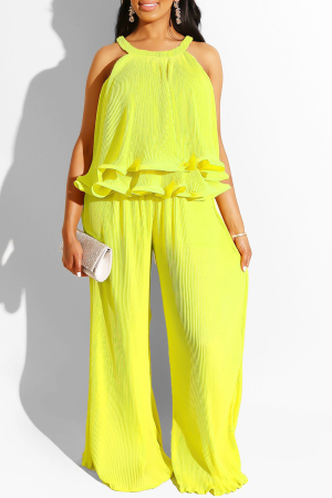 Yellow Sexy Solid Flounce Sleeveless Two Pieces