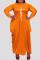 Dark Blue Fashion Casual Plus Size Print Asymmetrical O Neck Long Sleeve Dresses
