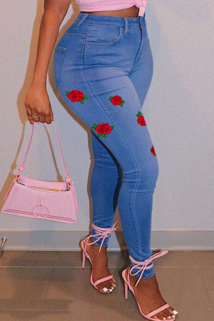 Medium Blue Fashion Casual Print Basic Plus Size Jeans