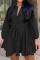 Black Casual Solid Split Joint V Neck Cake Skirt Dresses
