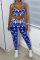 Blue Sexy Print Split Joint Square Collar Sleeveless Two Pieces