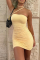 Yellow Sexy Solid Split Joint Halter Pencil Skirt Dresses
