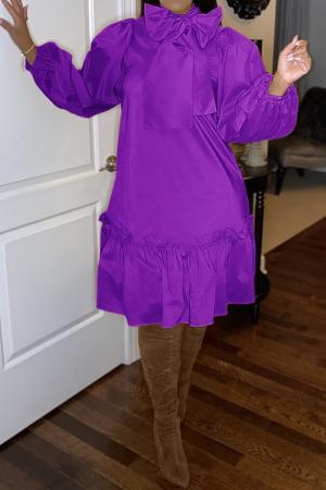 Purple Casual Solid Bandage Half A Turtleneck Cake Skirt Dresses