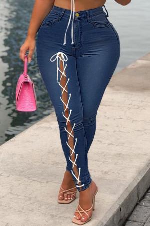 Deep Blue Fashion Casual Solid Bandage Mid Waist Regular Jeans