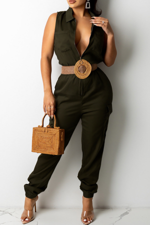 Army Green Casual Solid Split Joint Turndown Collar Harlan Jumpsuits