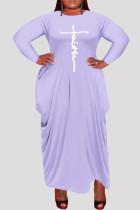 Light Purple Fashion Casual Plus Size Print Asymmetrical O Neck Long Sleeve Dresses