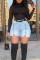 Light Blue Fashion Casual Solid Split Joint High Waist Regular Denim Shorts