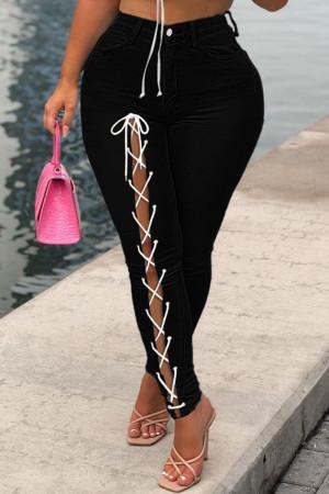 Black Fashion Casual Solid Bandage Mid Waist Regular Jeans