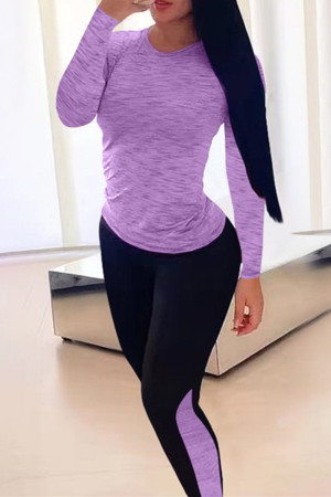 Light Purple Casual Sportswear Solid Split Joint O Neck Long Sleeve Two Pieces
