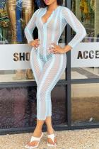 Blue Sexy Solid Mesh V Neck Skinny Jumpsuits