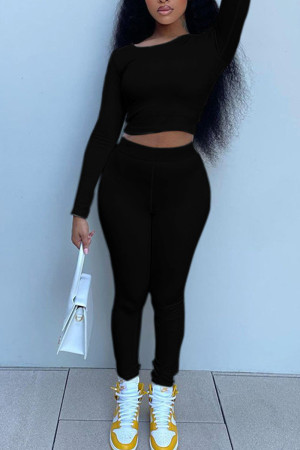Black Casual Solid Split Joint Frenulum Backless O Neck Long Sleeve Two Pieces